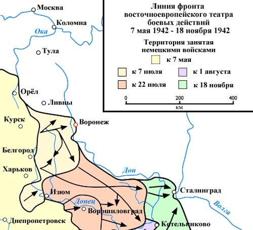 Диспозиция сил на фронте в районе Воронежа. wikipedia